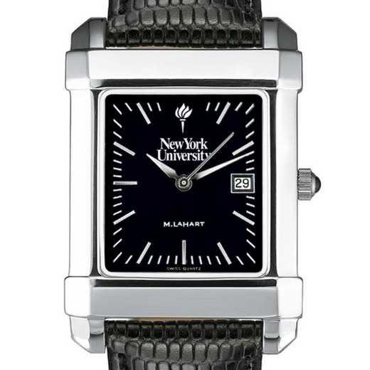 615789430988: NYU Men's Black Quad Watch with Leather Strap