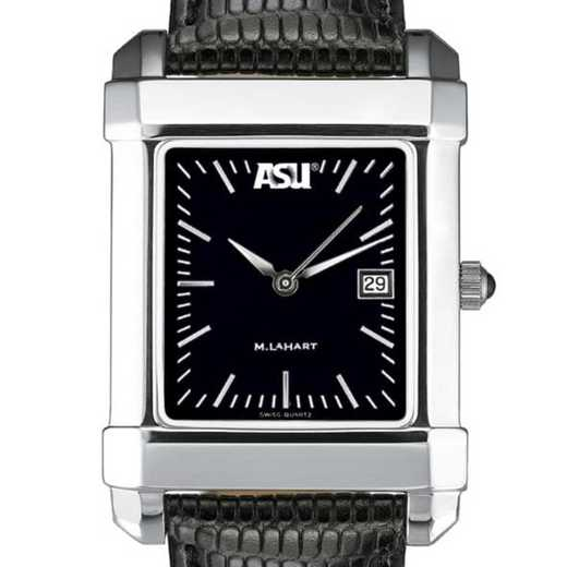 615789733898: ASU Men's Black Quad Watch with Leather Strap