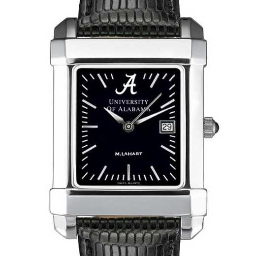 615789836711: Alabama Men's Black Quad Watch with Leather Strap