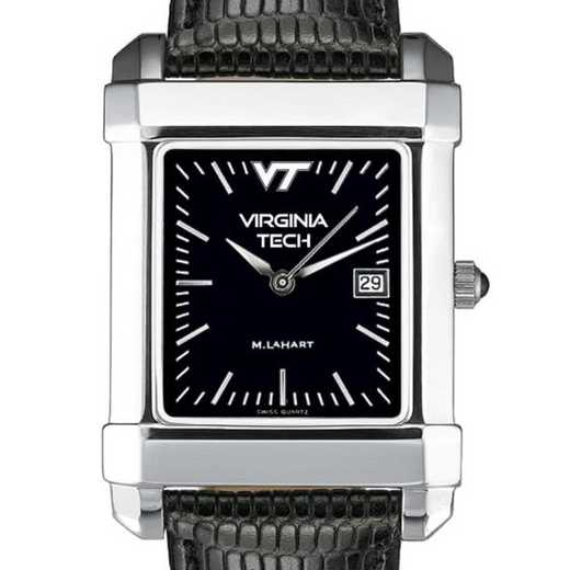 615789985914: Virginia Tech Men's Black Quad Watch with Leather Strap
