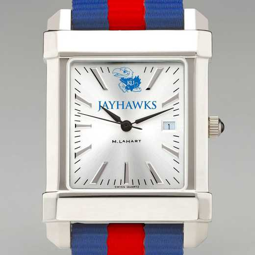 615789358855: Univ of Kansas Collegiate Watch with NATO Strap for Men