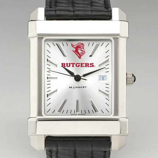 615789108078: Rutgers Univ Men's Collegiate Watch with Leather Strap