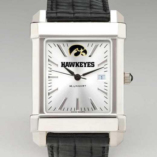 615789706175: Univ of Iowa Men's Collegiate Watch with Leather Strap