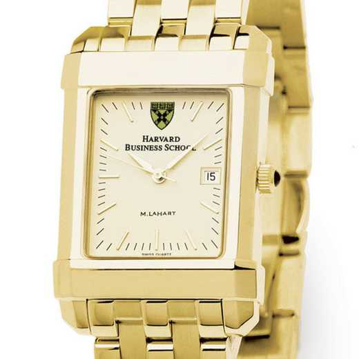 615789410263: Harvard Business School Men's Gold Quad Watch with Bracelet