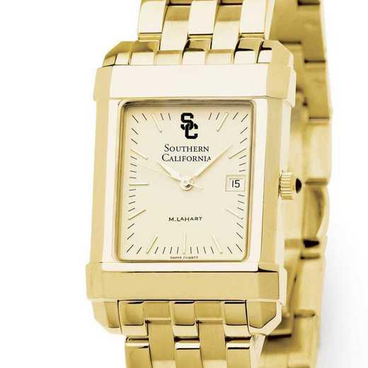 615789445166: Univ of Southern California Men's Gold Quad with Bracelet