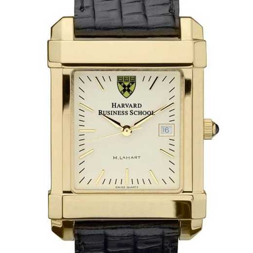 615789410256: Harvard Business School Men's Gold Quad Watch w/LthrStp