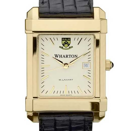 615789410898: Wharton Men's Gold Quad Watch with Leather Strap