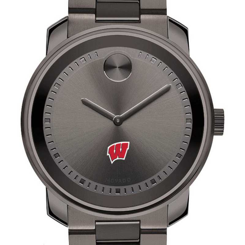 615789074243: Univ of Wisconsin Men's Movado BOLD gnmtl gry