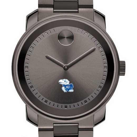 615789106500: Univ of Kansas Men's Movado BOLD Gunmetal Grey