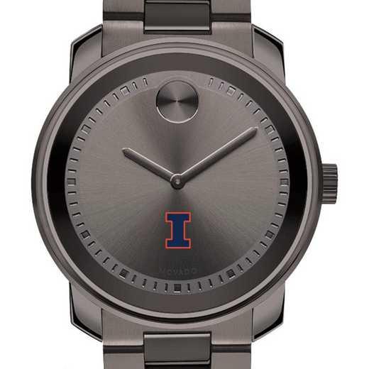 615789653912: Univ of Illinois Men's Movado BOLD Gunmetal Grey