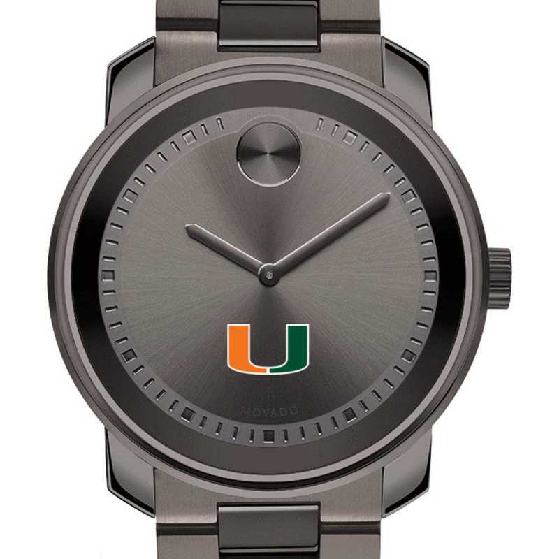 615789884262: Univ of Miami Men's Movado BOLD gnmtl gry