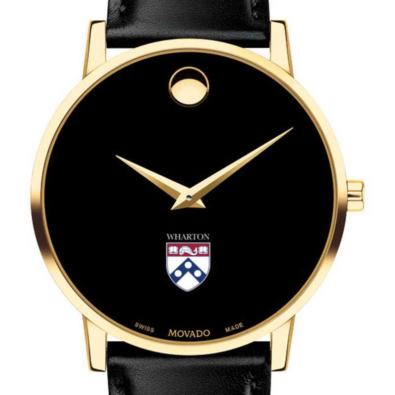 615789203278: Wharton Men's Movado Gold Museum Classic Leather