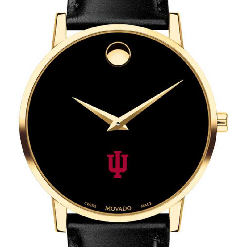 615789253433: Indiana Univ Men's Movado Gold Museum Classic Leather