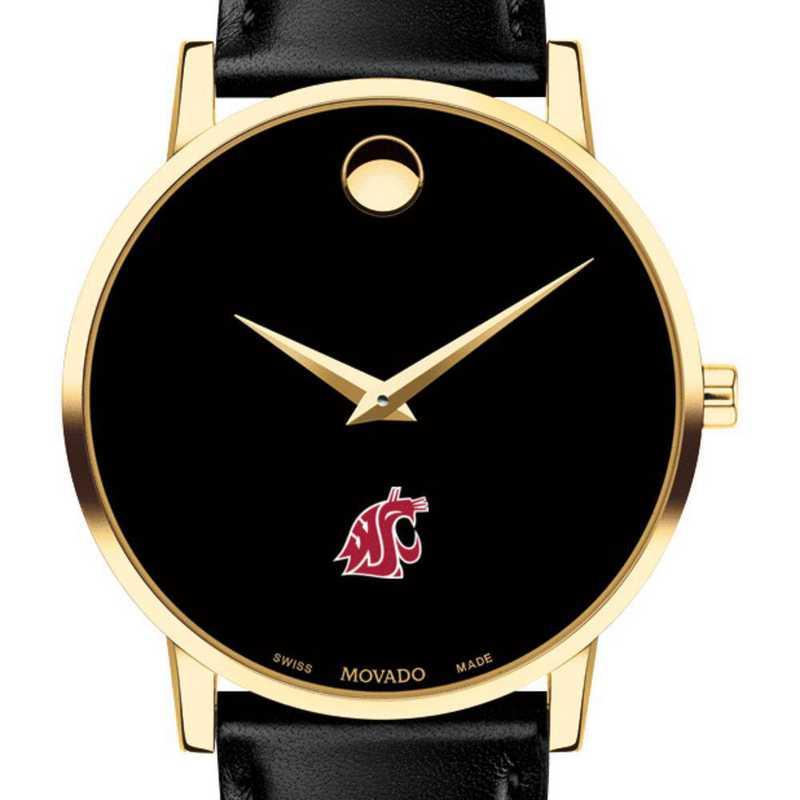 615789349136: Washington State Univ Men's Movado Gold Museum Clssc Leather