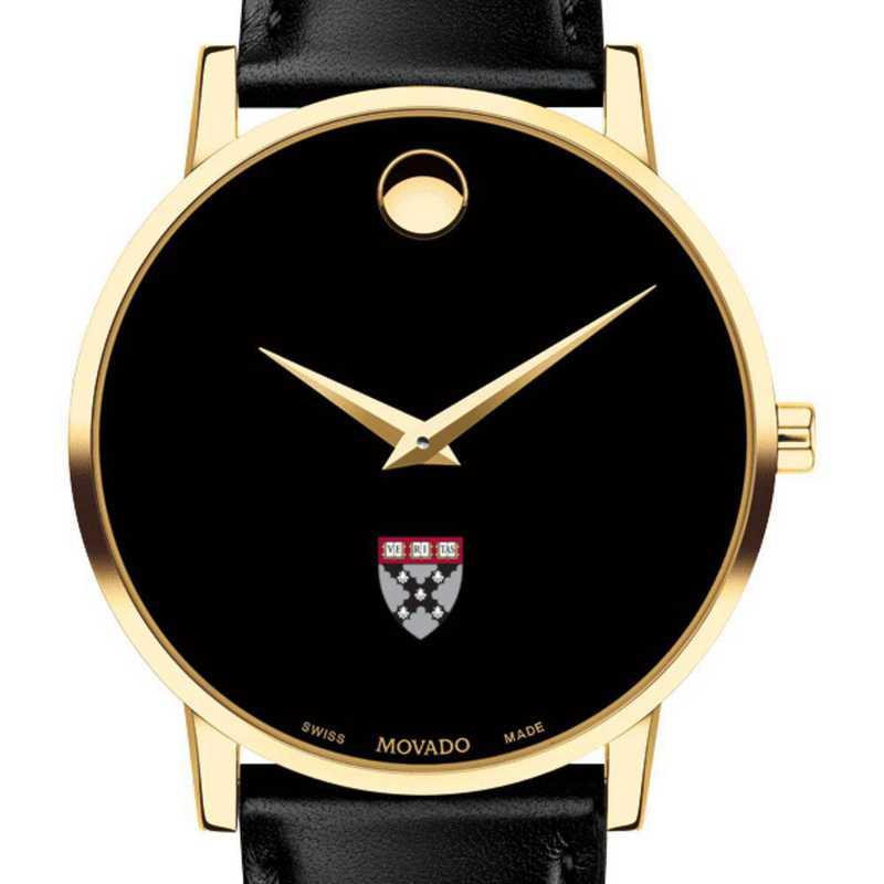 615789383512: Harvard Business School Men's Movado Gold Museum Clssc Lthr