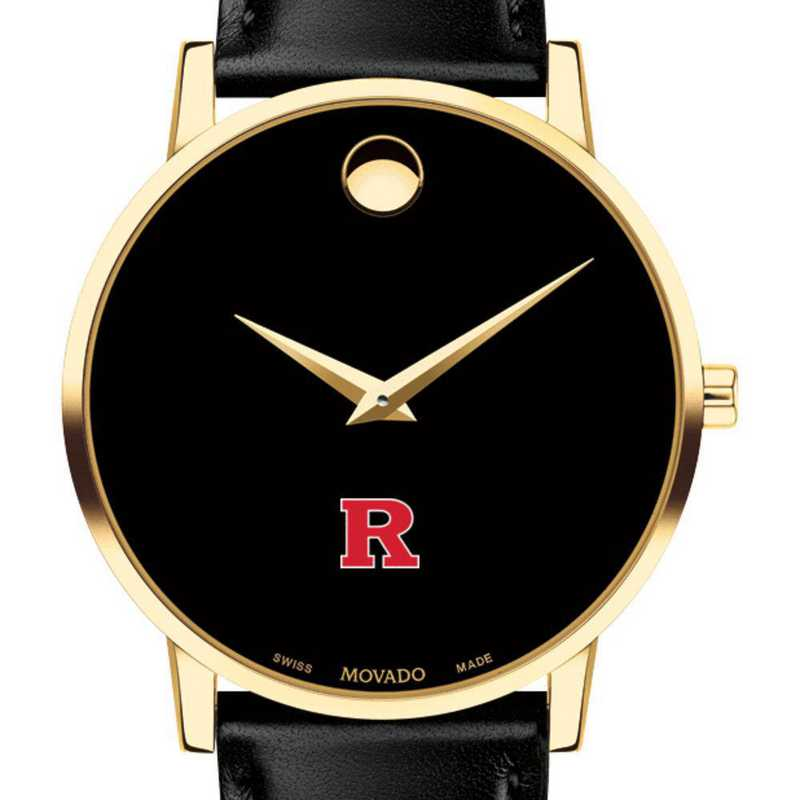 615789405498: Rutgers Univ Men's Movado Gold Museum Classic Leather