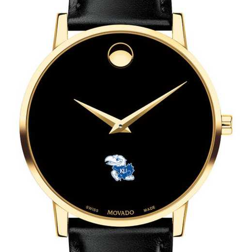 615789847090: Univ of Kansas Men's Movado Gold Museum Classic Leather