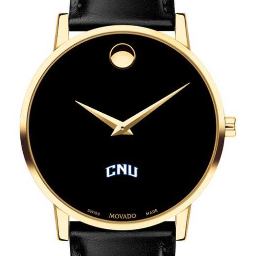 615789849056: Christopher Newport Univ Men's Movado Gld Museum Clssc Lther