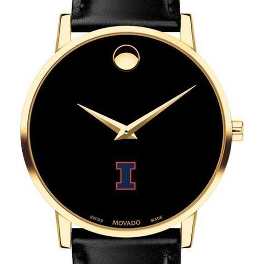 615789876021: Univ of Illinois Men's Movado Gold Museum Classic Leather
