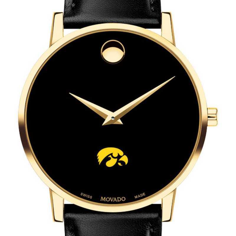 615789897095: Univ of Iowa Men's Movado Gold Museum Classic Leather