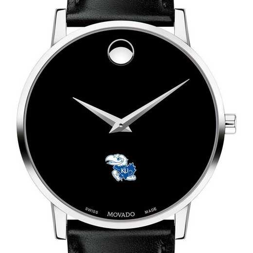 615789633327: Univ of Kansas Men's Movado Museum W/ Leather Strap