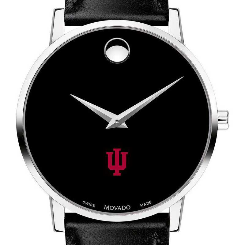615789687634: Indiana Univ Men's Movado Museum W/ Leather Strap