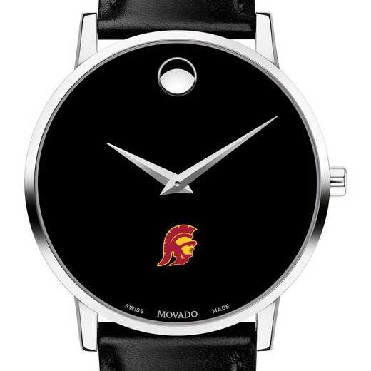 615789949848: Univ of Southern California Men's Movado Museum W/Lthr Strp