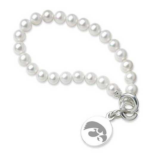615789077862: Univ of Iowa Pearl Bracelet with SS Charm