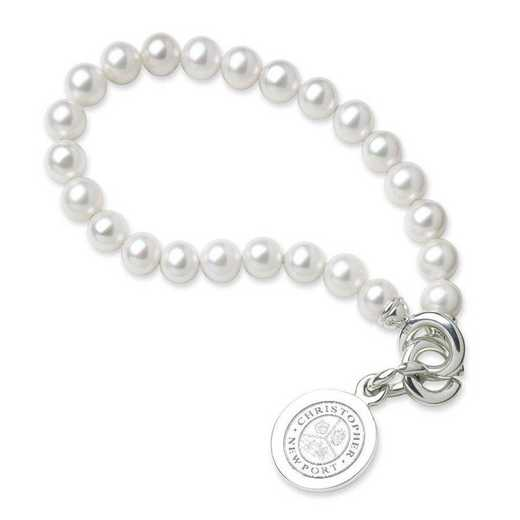 615789123217: Christopher Newport Univ Pearl Bracelet with SS Charm