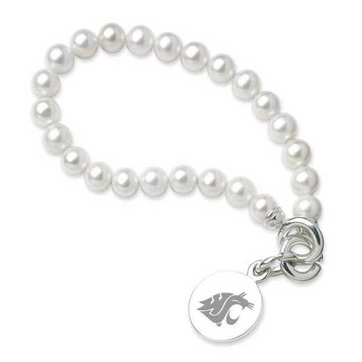 615789273851: Washington State Univ Pearl Bracelet with SS Charm