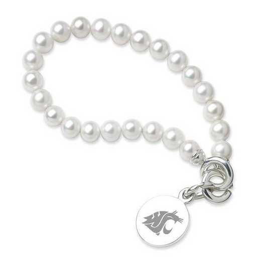 615789273851: Washington State Univ Pearl Bracelet with SS Charm