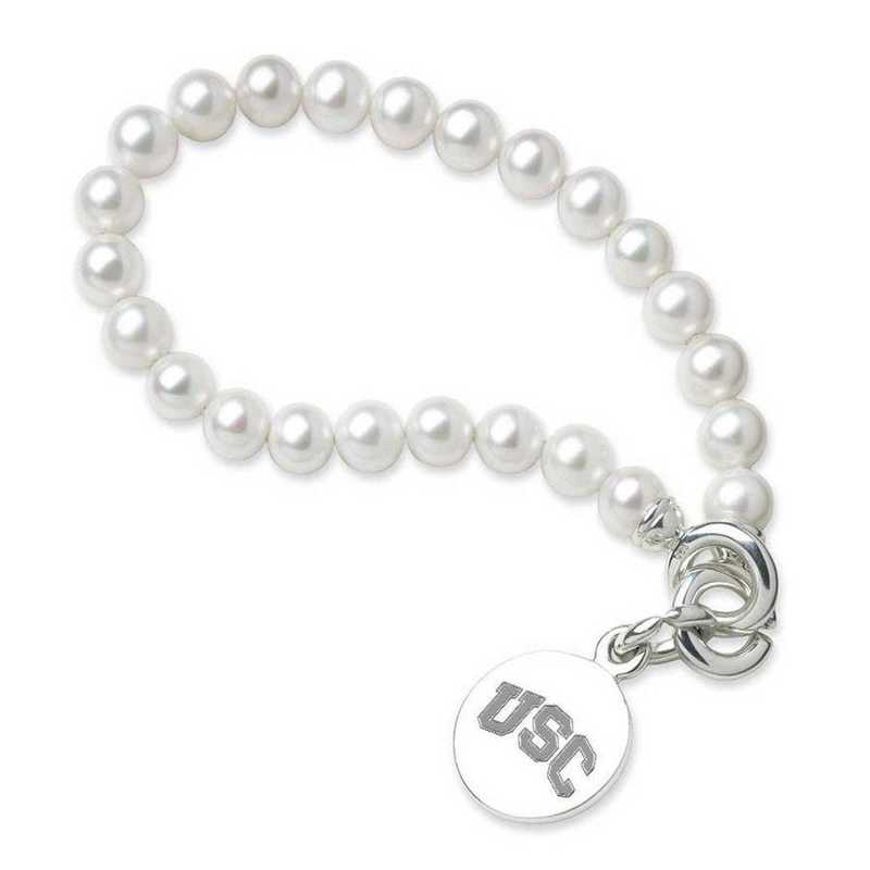 615789437376: Univ of Southern California Pearl Bracelet with SS Charm