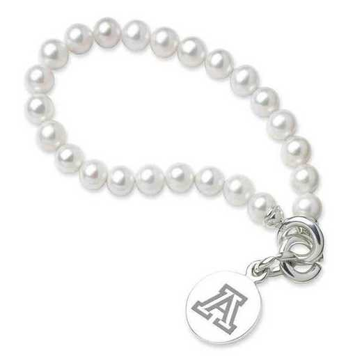 615789444480: Univ of Arizona Pearl Bracelet with SS Charm