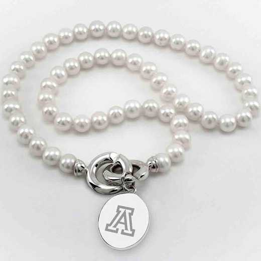 615789082927: Univ of Arizona Pearl Necklace with SS Charm