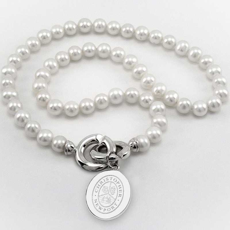 615789123637: Christopher Newport Univ Pearl Necklace with SS Charm