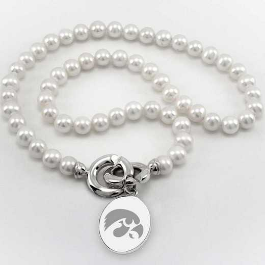 615789361459: Univ of Iowa Pearl Necklace with SS Charm