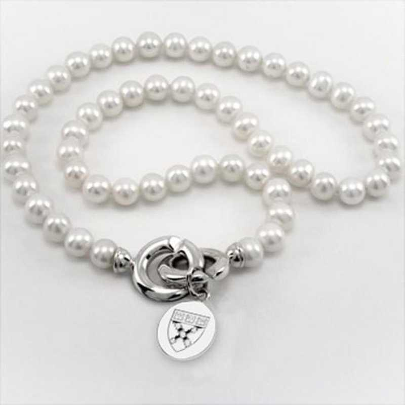 615789377726: Harvard Business School School Pearl Necklace with SS Charm