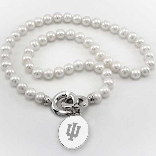 615789674276: Indiana Univ Pearl Necklace with SS Charm