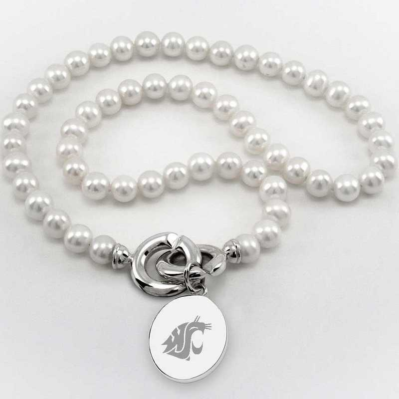 615789796022: Washington State Univ Pearl Necklace with SS Charm