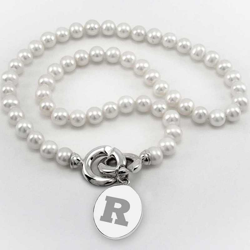 615789928638: Rutgers Univ Pearl Necklace with SS Charm