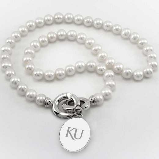 615789978473: Univ of Kansas Pearl Necklace with SS Charm