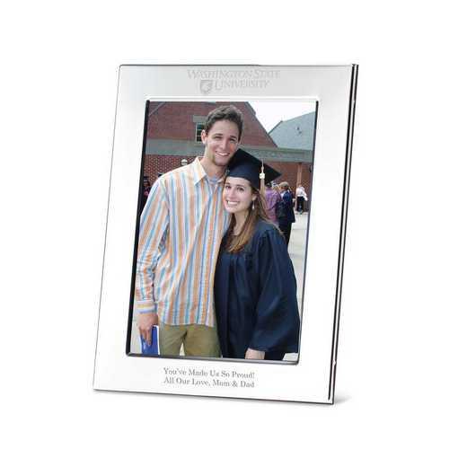 615789536758: Washington State Univ Polished Pewter 5x7 Picture Frame