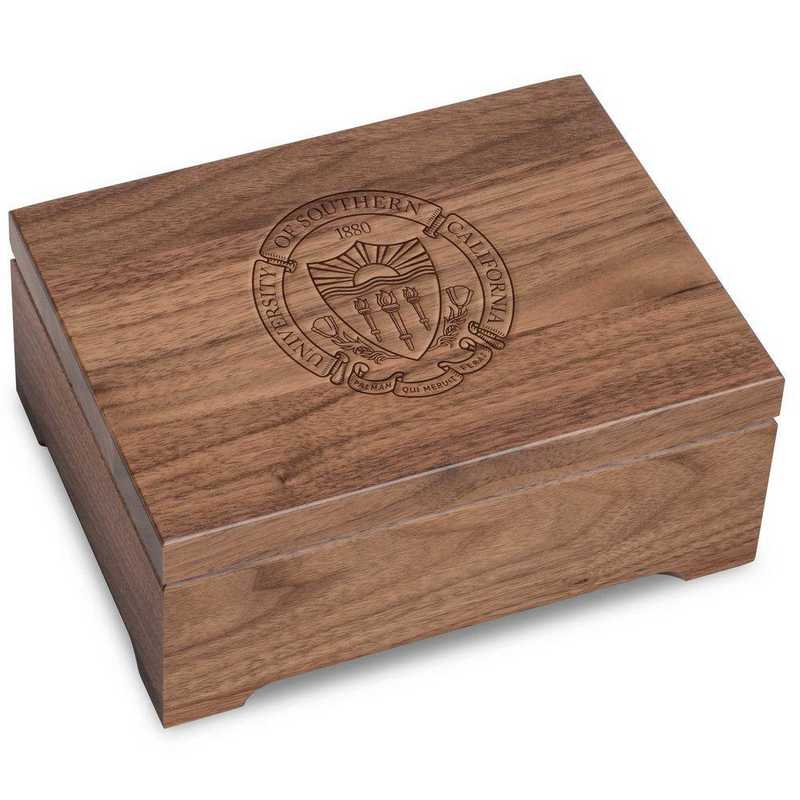 615789495222: Univ of Southern California Solid Walnut Desk Box