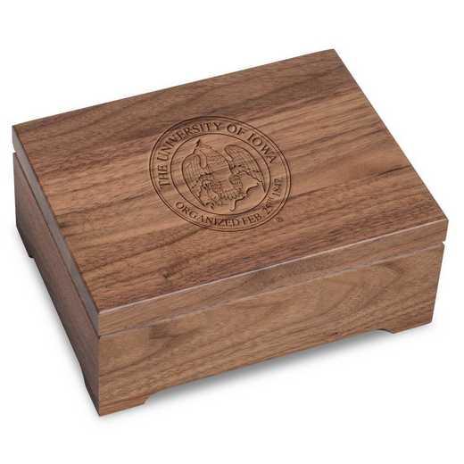 615789977131: Univ of Iowa Solid Walnut Desk Box