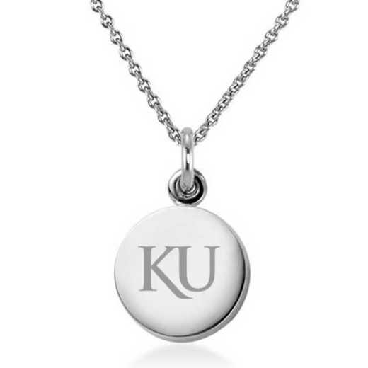 615789392248: Univ of Kansas Necklace with Charm in SS