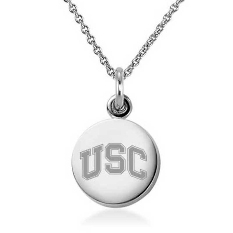 615789738145: Univ of Southern California Necklace with Charm in SS