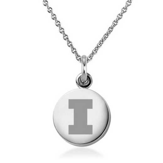 615789957515: Univ of Illinois Necklace with Charm in SS