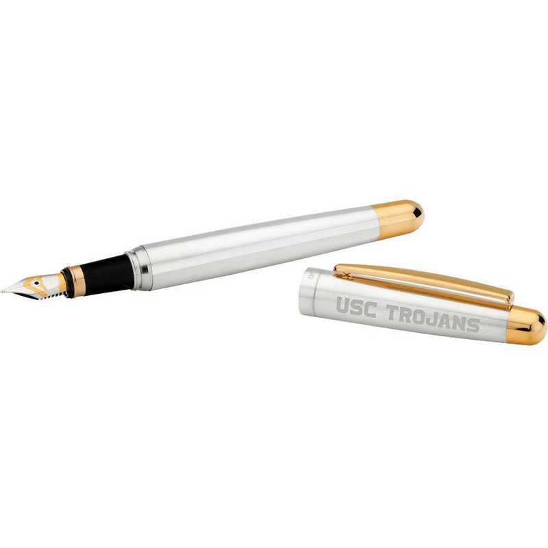 615789291800: Univ of Southern California Fountain Pen in SS W/ Gold Trim