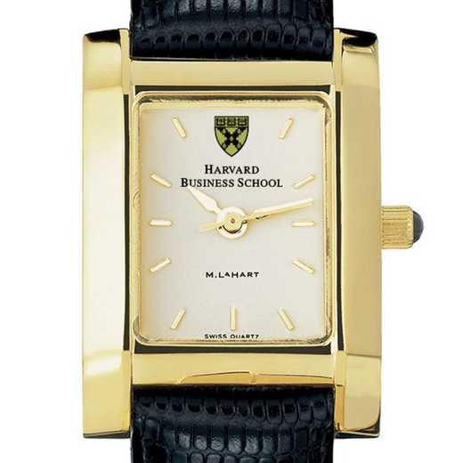 615789410294: Harvard Business School Women's Gold Quad Watch w/LthrStp
