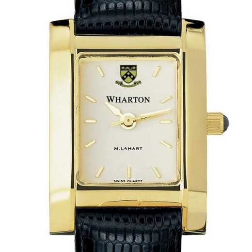 615789410935: Wharton Women's Gold Quad Watch with Leather Strap